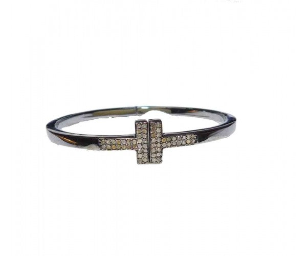 Diamond Pave Cross Bracelet