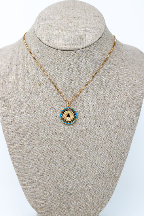 Disk Necklace in Blues and Gold