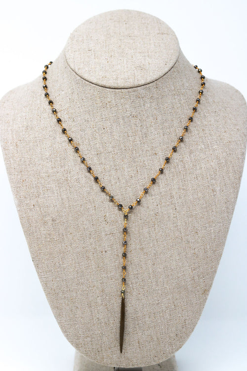 Needle Necklace In Gold with Pyrite