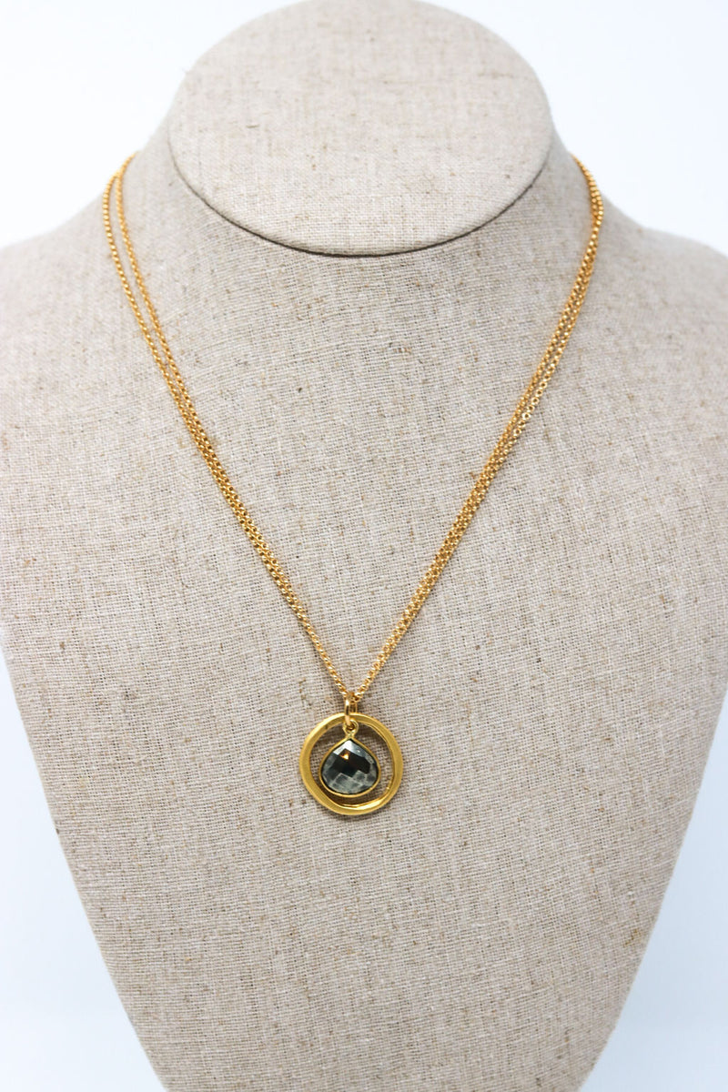 Pyrite Bead in Circle Necklace