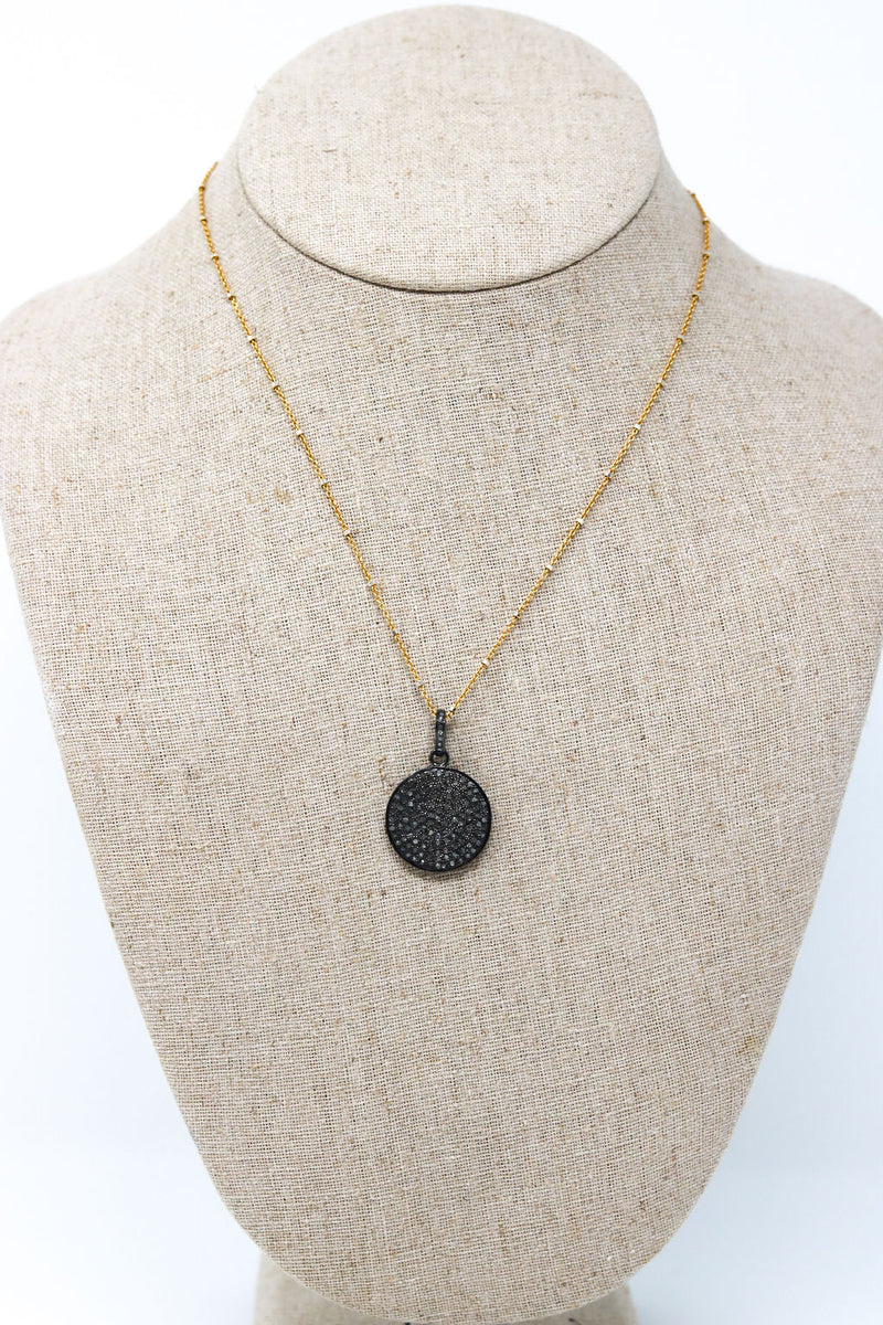 Diamond Pave Disk on Chain