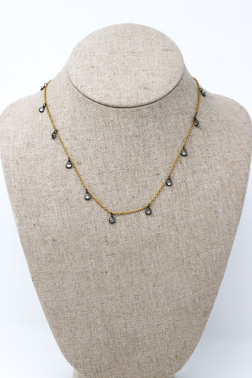 CZ Gold and Black Necklace