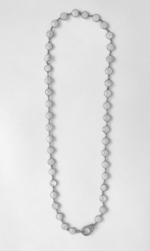 Bezeled Moonstone Chain with Diamond Pave Clasp