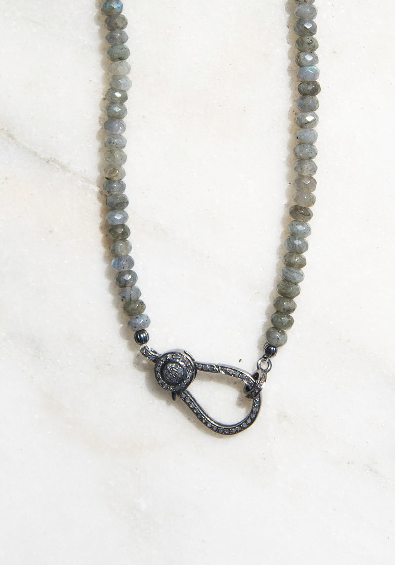 labradorite beads with diamond pave clasp