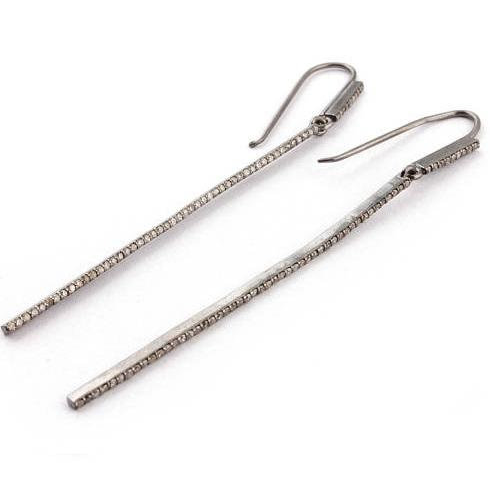 Long Diamond Pave Earrings
