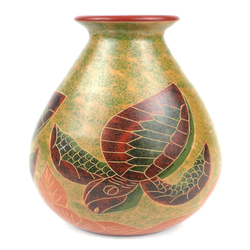 9 inch Tall Vase - Turtle Handmade and Fair Trade