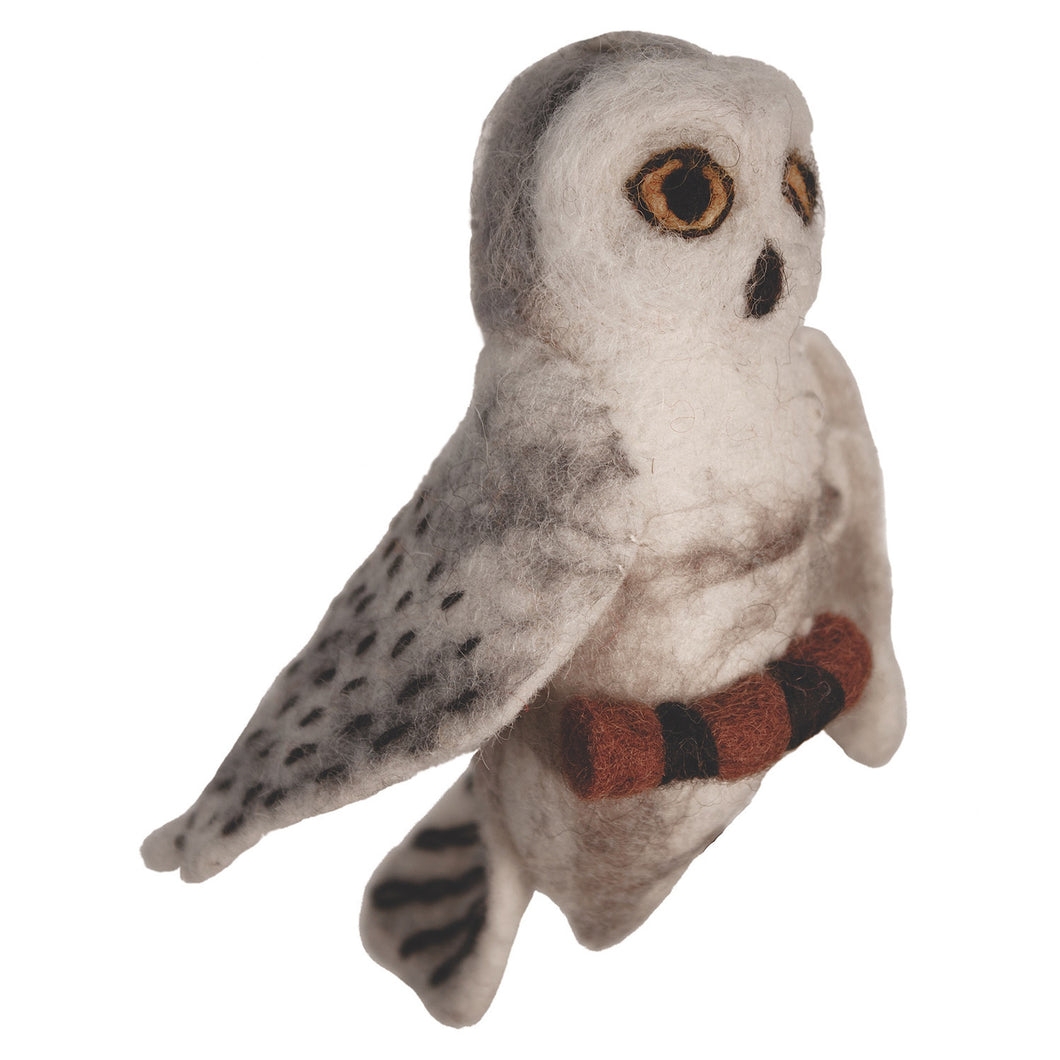 Felt Bird Garden Ornament - Snowy Owl Handmade and Fair Trade