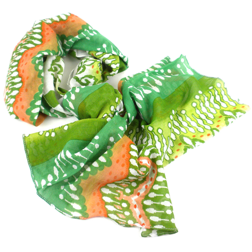 White,Peach and Green Ikat Cotton Scarf Handmade and Fair Trade