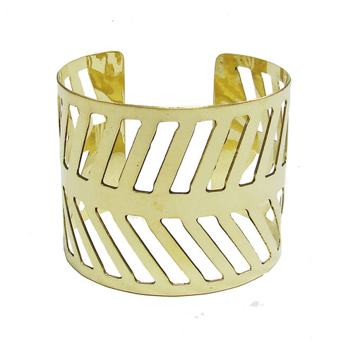 Chevron Path Cuff - gold Handmade and Fair Trade