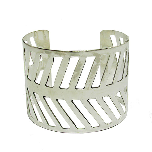 Chevron Path Cuff - silver Handmade and Fair Trade