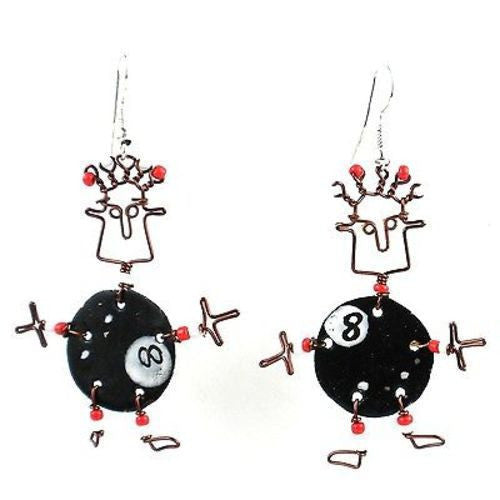 Dancing Girl Eight Ball Earrings Handmade and Fair Trade