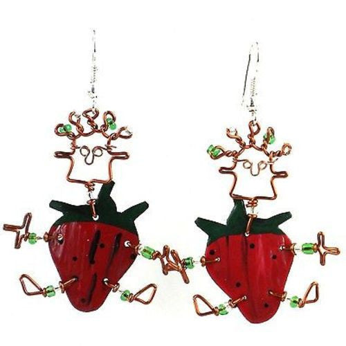 Dancing Girl Strawberry Earrings Handmade and Fair Trade