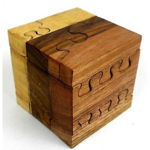 Handcrafted Tricolor Wood Cube Puzzle Handmade and Fair Trade