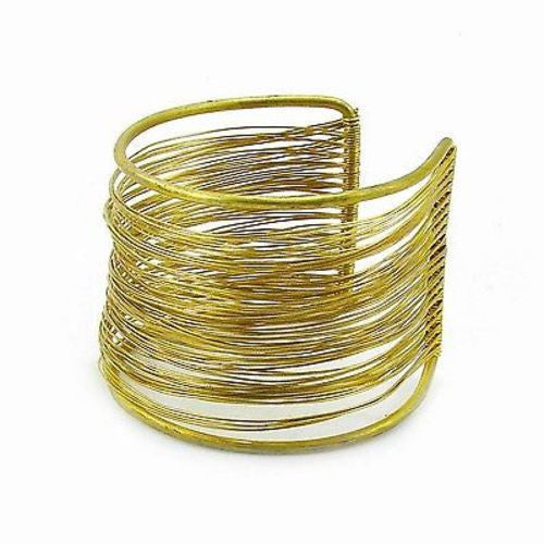 Dozens of Strands Brass Wire Cuff Handmade and Fair Trade