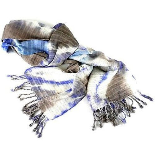 Natural Tie-Dye Cotton Scarf in Purple/Gray Handmade and Fair Trade