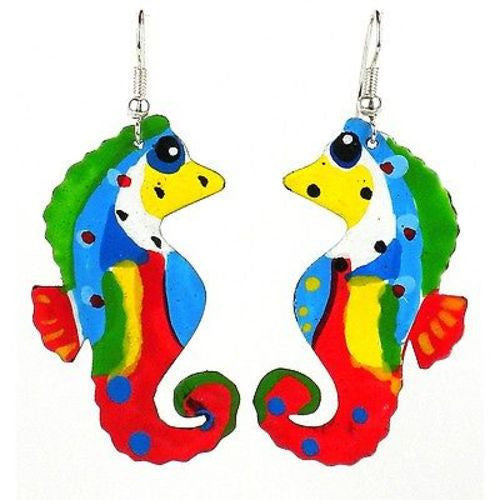 Painted Seahorse Earrings Handmade and Fair Trade