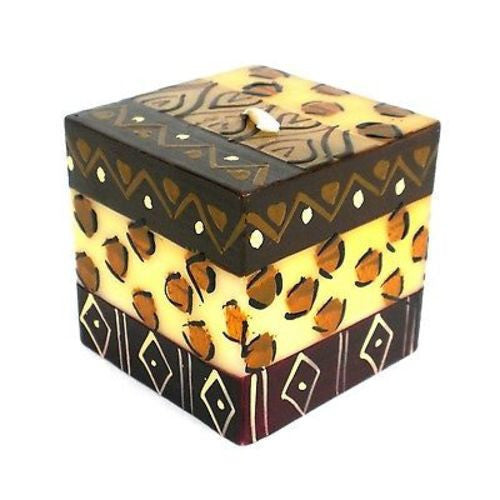 Hand-Painted Cube Candle - Uzima Design Handmade and Fair Trade