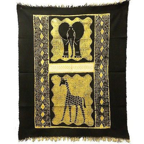 Elephant and Giraffe Batik in Black/White Handmade and Fair Trade