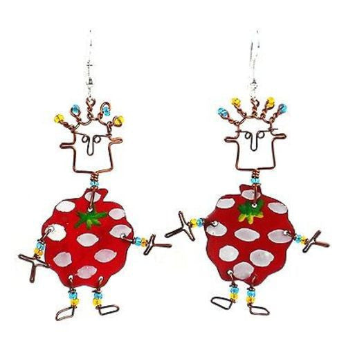 Dancing Girl Berry Earrings Handmade and Fair Trade