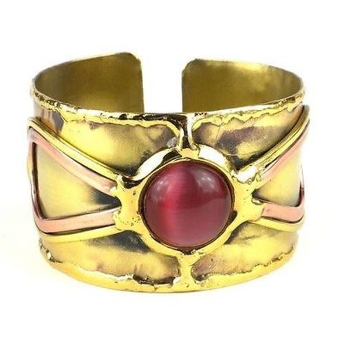 First Blush Pink Tiger Eye Brass Cuff Handmade and Fair Trade