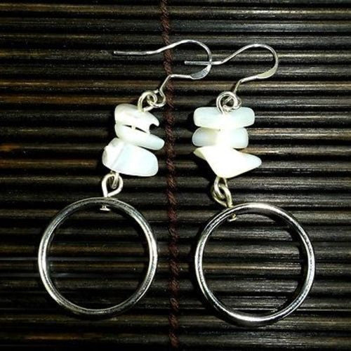 Mother-of-Pearl and Silver Hoop Earrings Handmade and Fair Trade