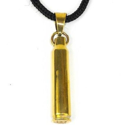 Brass Bullet Shell Pendant on Cord Handmade and Fair Trade