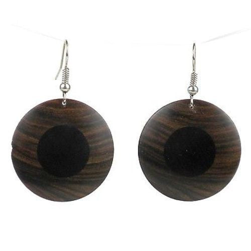 African Ebony and Teak Disk Earrings Handmade and Fair Trade