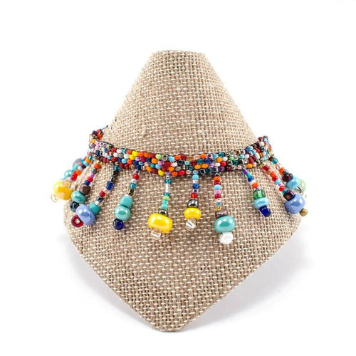 Beach Ball Beaded Anklet - Multi - Lucias Imports (J)