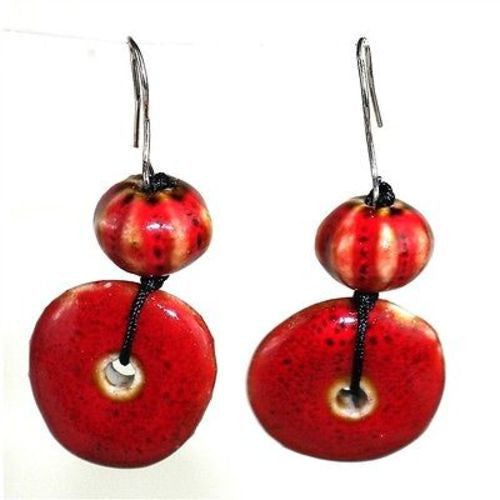 Handmade Red Ceramic Bead Earrings Handmade and Fair Trade