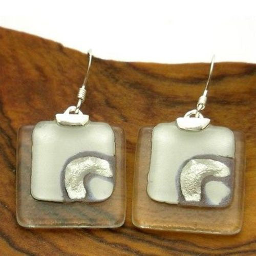 Celestial White Stacked Glass Squares Sterling Silver Earrings Handmade and Fair Trade
