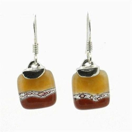 Caramel Mini Glass Square Earrings with Sterling Silver Handmade and Fair Trade