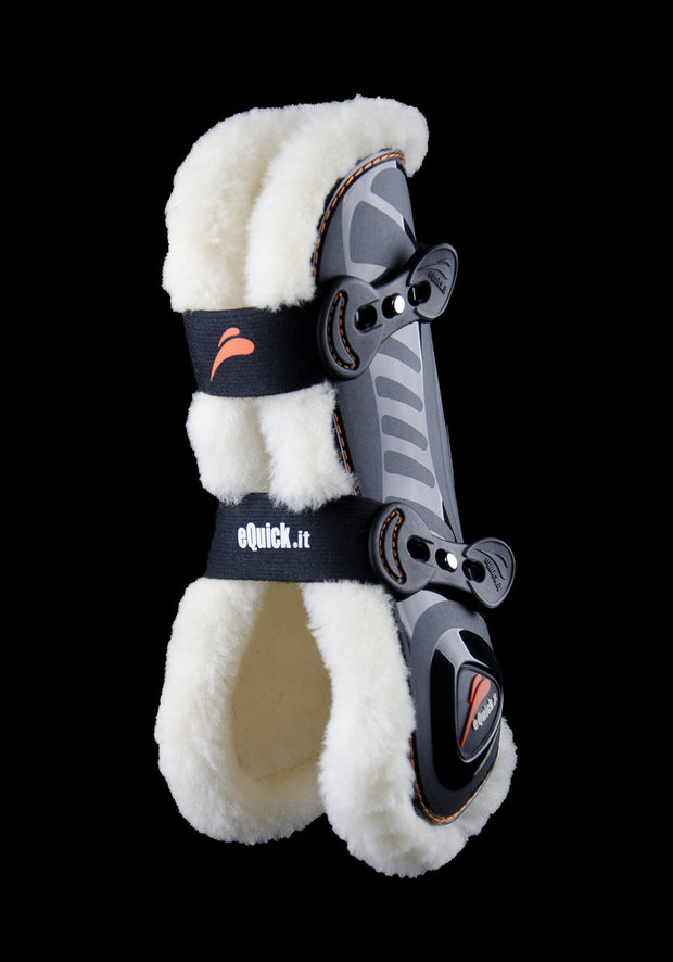 eShock Front with Lamb Wool open jumping boots, Show Jumping Boots, eQuick - Laura's Tack Room