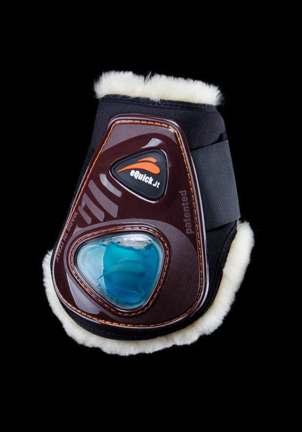 eShock Rear with Lamb Wool & Velcro brushing boots, Show Jumping Boots, eQuick - Laura's Tack Room
