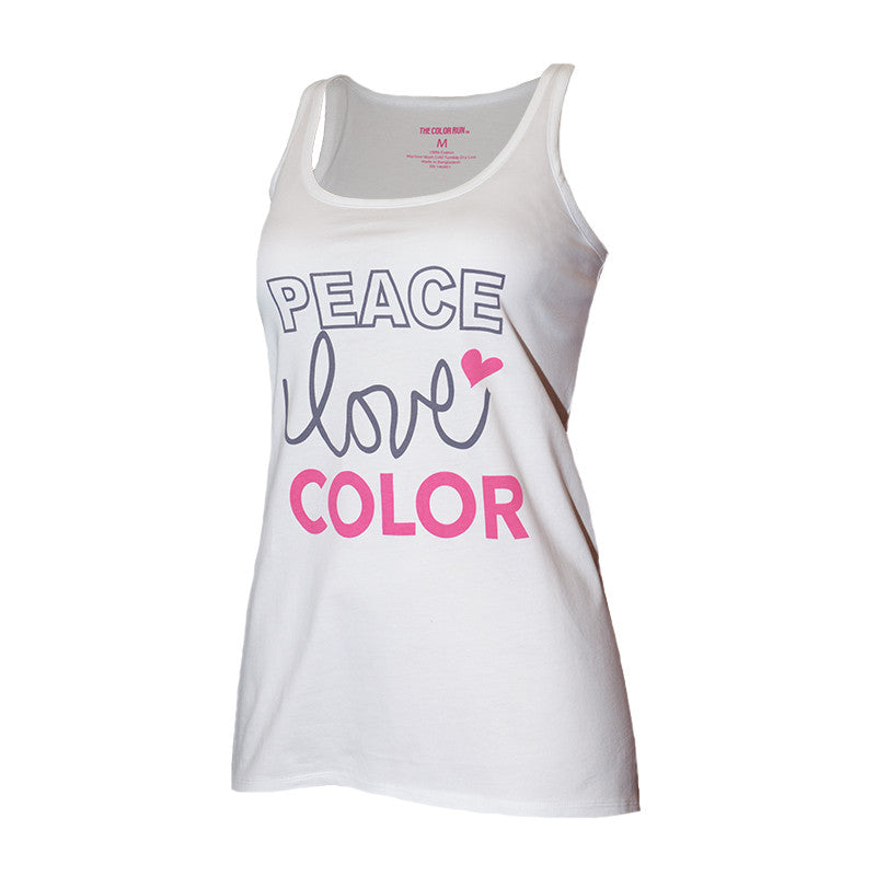 White Peace Love Color Tank