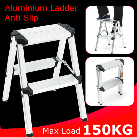 Miraculous Sturdy Durable And Small 2 Step Folding Aluminum Ladder Inzonedesignstudio Interior Chair Design Inzonedesignstudiocom