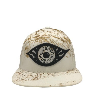 Hat - Unique hand painted / White-Gold