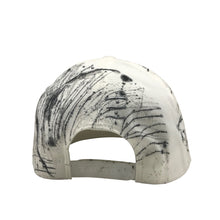 Hat - Unique hand painted / White-black-silver
