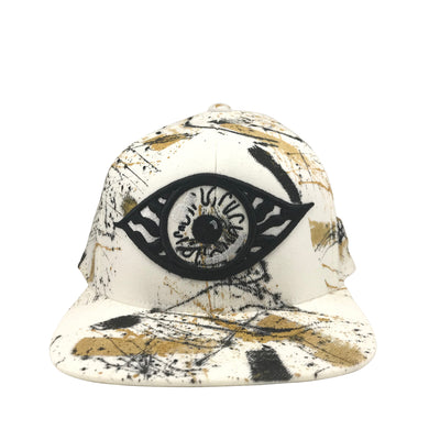 Hat - Unique hand painted / White-black-Gold