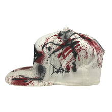 Hat - Unique hand painted / White-black-Red