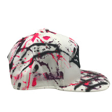 Hat - Unique hand painted - White / Pink