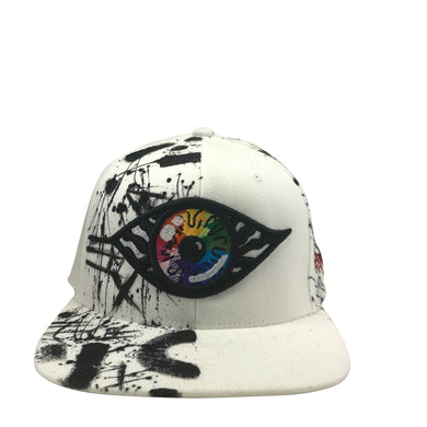 Hat - Unique hand painted - W&B / Rainbow