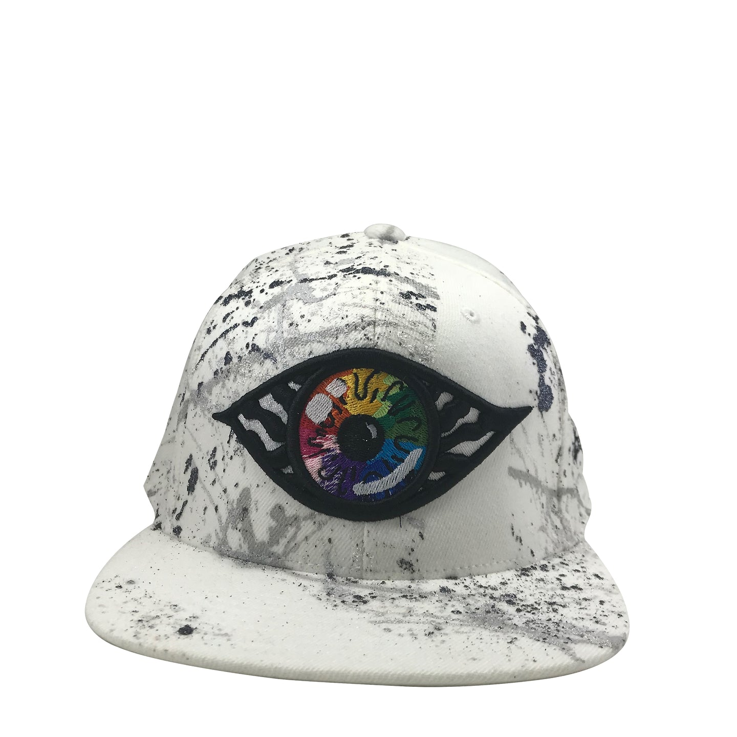 Hat - Unique hand painted Silver / Rainbow