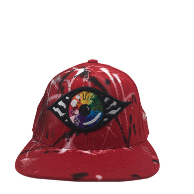 Hat - Unique hand painted / Red-Rainbow