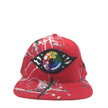 Hat - Unique hand painted / Red-silver-Rainbow