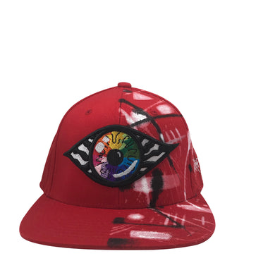 Hat - Unique hand painted / Red-B&W-Rainbow
