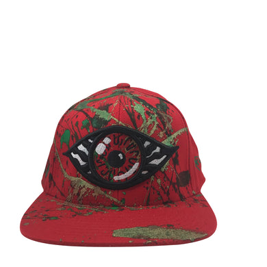 Hat - Unique hand painted / Red- green