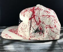 Hat - Unique hand painted snapback -  White / red