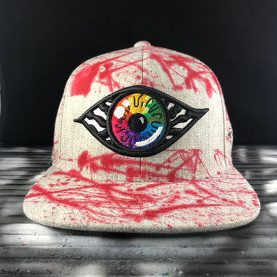 Hats - Hand painted snapback Grey/Red vs. Rainbow