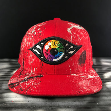 Hats - Hand painted snapback Red vs. Rainbow