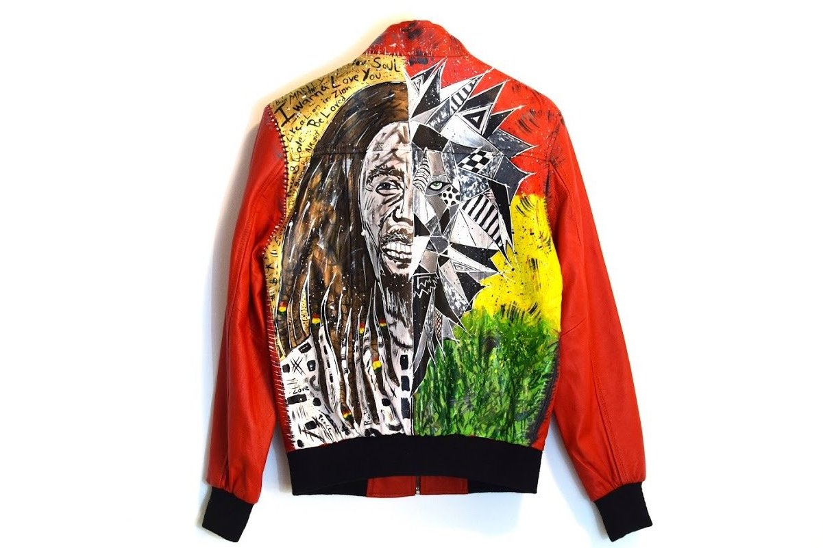 Leather jacket - Bob Marley / Lion in Zion